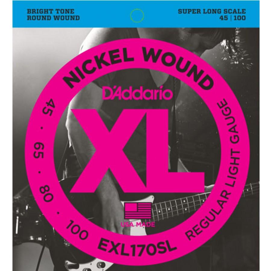 D'Addario EXL170SL Nickel Wound Bass, Light, 45-100, Super Long Scale