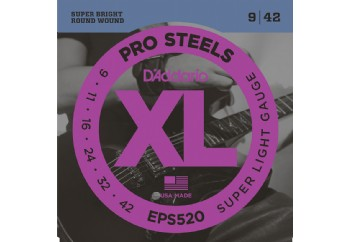 D'Addario EPS520 ProSteels, Super Light, 9-42 Takım Tel - Elektro Gitar Teli 009