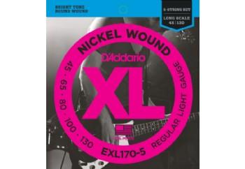 D'Addario EXL170-5 Nickel Wound 5-String Bass, Light, 45-130, Long Scale Takım Tel - 5 Telli Bas Gitar Teli 045-130