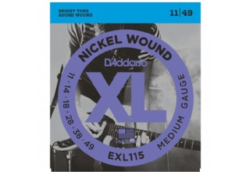 D'Addario EXL115 Nickel Wound, Medium/Blues-Jazz Rock Takım Tel - Elektro Gitar Teli 011-049