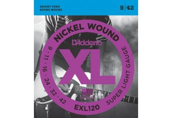 D'Addario EXL120 Nickel Wound, Super Light Takım Tel - Elektro Gitar Teli 009-042