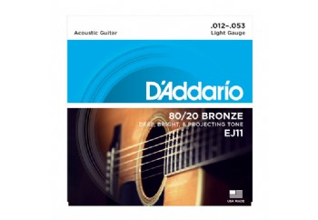 D'Addario EJ11 80/20 Bronze Acoustic Guitar Strings, Light, 12-53 012-053 Takım Tel - Akustik Gitar Teli