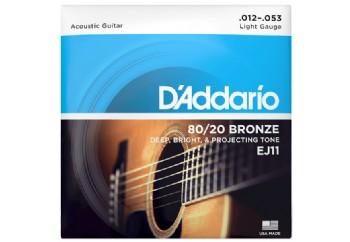 D'Addario EJ11 80/20 Bronze Acoustic Guitar Strings, Light, 12-53 012-053 Takım Tel - Akustik Gitar Teli