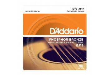 D'Addario EJ15 Phosphor Bronze, Extra Light Takım Tel - Akustik Gitar Teli 010-047