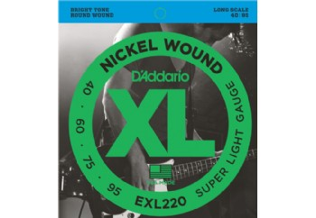 D'Addario EXL220 Nickel Wound Bass, Super Light, 40-95, Long Scale 040-095 Takım Tel - Bas Gitar Teli