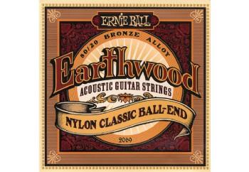 Ernie Ball 2069 Earthwood 80/20 Bronze Folk Nylon Ball End Takım Tel - Klasik Gitar Teli