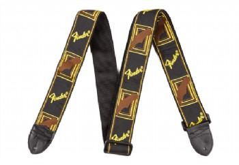 Fender Monogram Straps Siyah, Sarı, Kahve - Gitar Askısı