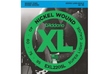D'Addario EXL220SL Nickel Wound Bass, Super Light, 40-95, Super Long Scale Takım Tel - Bas Gitar Teli 040-095