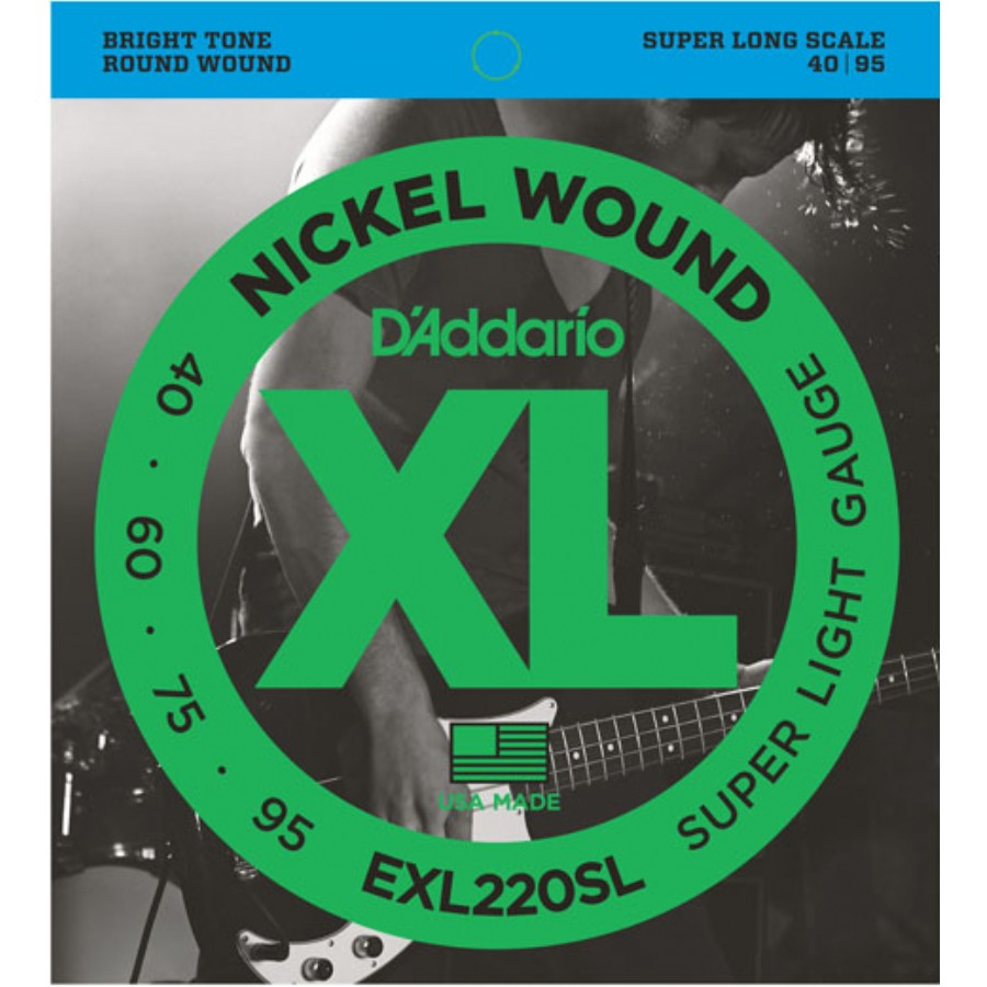 D'Addario EXL220SL Nickel Wound Bass, Super Light, 40-95, Super Long Scale