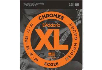 D'Addario ECG26 Chromes Flat Wound, Medium, 13-56 Takım Tel - Caz Gitar Teli 013-056