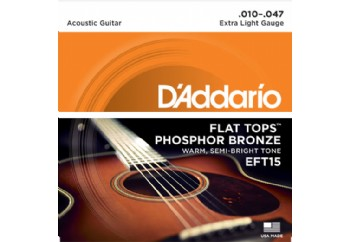 D'Addario EFT15 Flat Tops, Extra Light, 10-47 Takım Tel - Akustik Gitar Teli 010-047