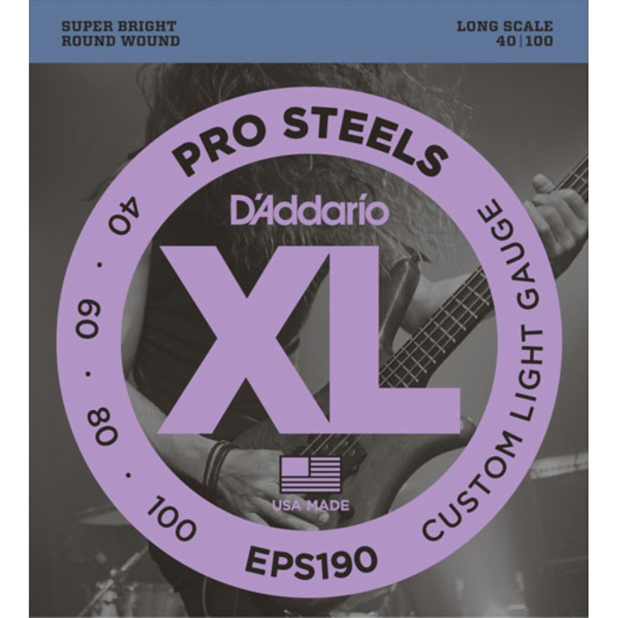 D'Addario EPS190 ProSteels Bass, Custom Light, 40-100, Long Scale