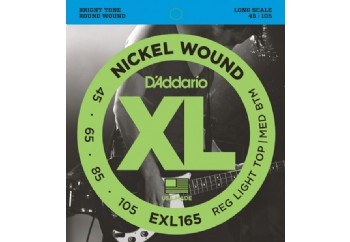 D'Addario EXL165 Nickel Wound Bass, Custom Light, 45-105, Long Scale 045-105 Takım Tel