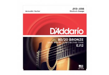 D'Addario EJ12 80/20 Bronze Acoustic Guitar Strings, Medium, 13-56 Takım Tel - Akustik Gitar Teli 013-056
